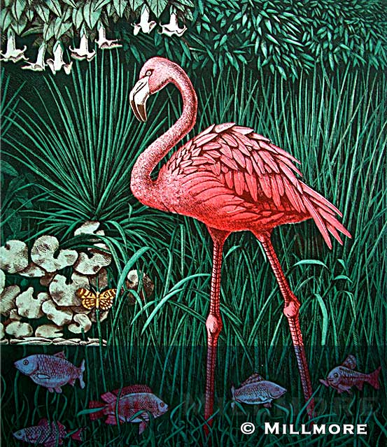 Flamingo Etching